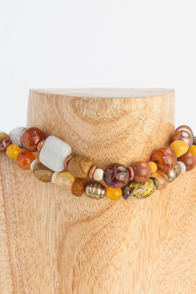 fresh water brown pearls, Agate, Mookaite, Howlite