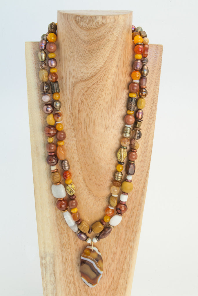Botswana Agate pendant centres this multi stone necklace.