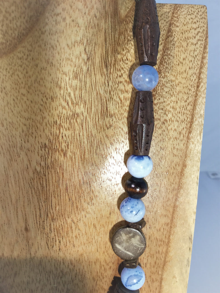 MARIE FRANCE: Wood and Blue Agate Choker