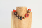 Red Howlite and Rutilated Quartz necklace.