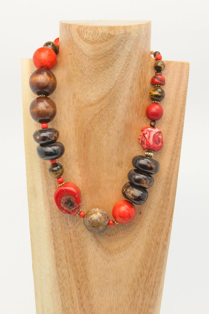 NAOMI: Red turquoise, Bamboo and Howlite with Wood