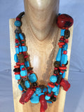 NAVAJO: multi strands of red and blue Turquoise with tiger's Eye, Smokey Quartz and Red Bamboo
