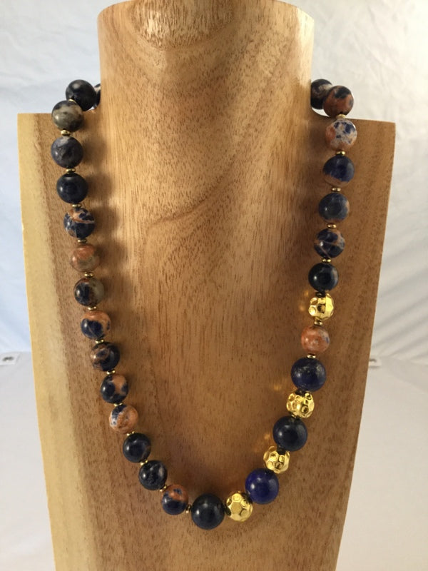 JANICE: goes with everything, navy.rust Agate and Lapis