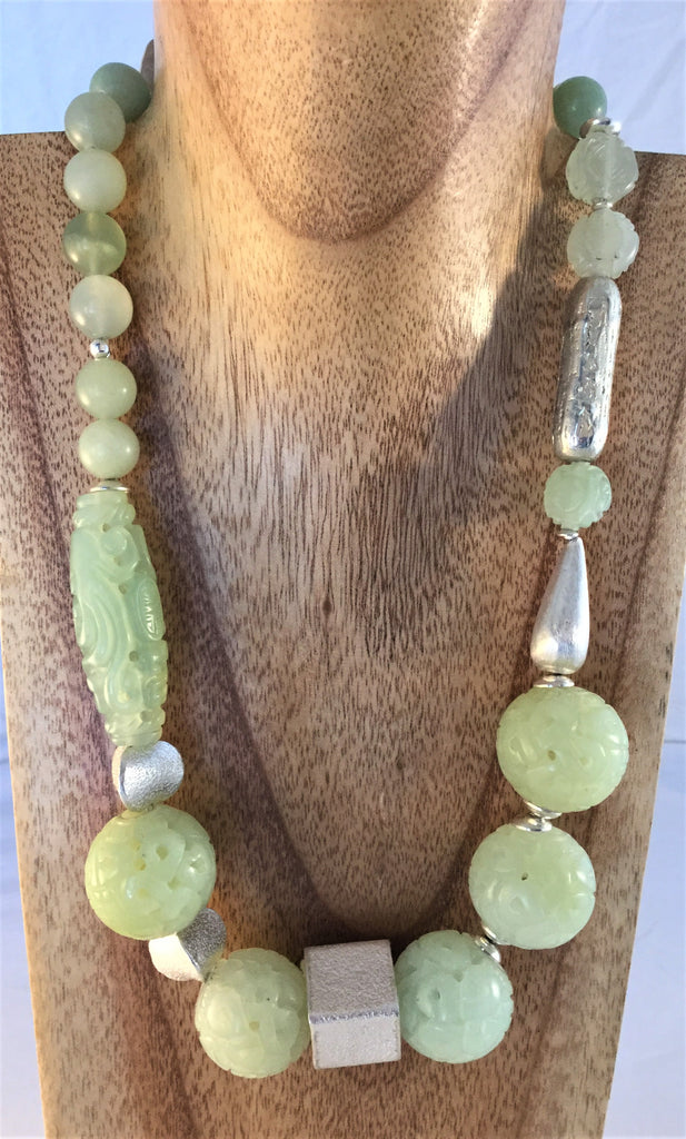 PALE MINT: carved Jade and Sterling Necklace