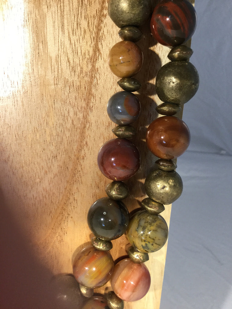 PETRA: petrified wood also blended with African round bronze beads 17mm