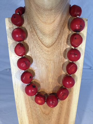 Maude - Orange dyed Bamboo and Fire Agate necklace.
