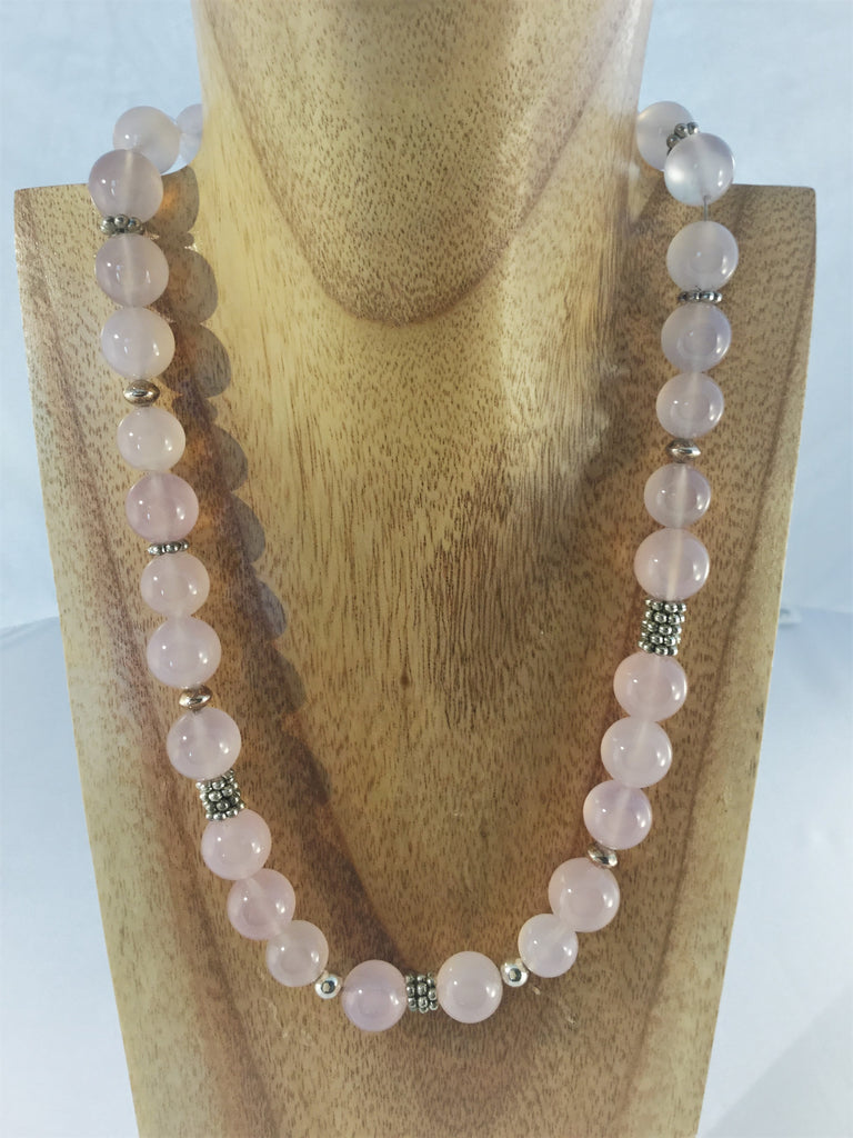 ROSY: 12mm Rose Quartz beaded choker