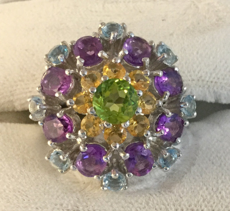 RS130: Amethyst, Peridot & Citrine Cluster Ring
