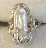 RS148: Baroque white pearl and sterling ring