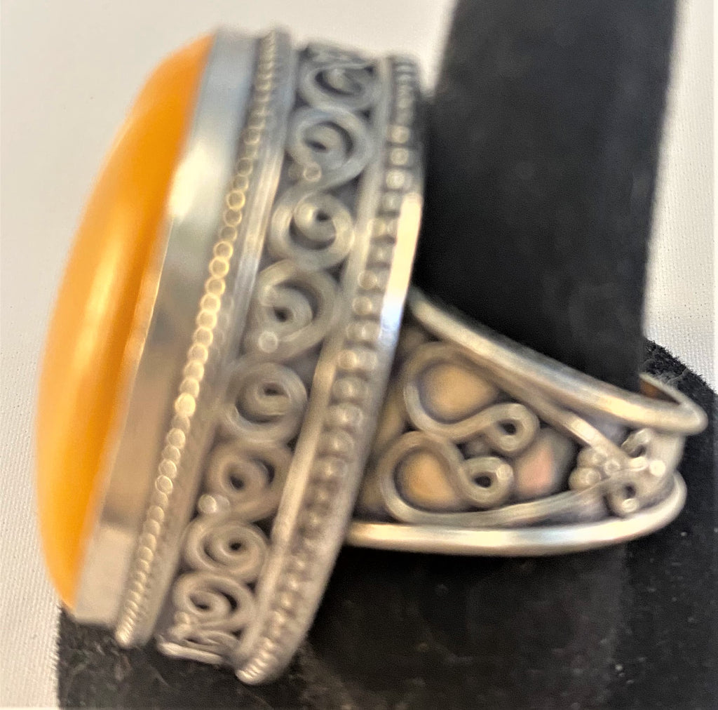 RS247: Yellow Agate Sterling Ring