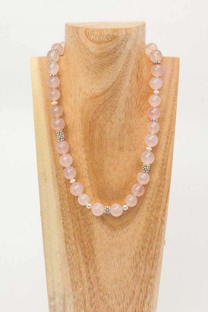 Rose Quartz 12mm balls with sterling
