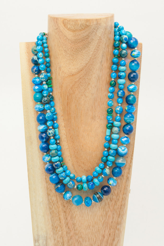Ruth - 3 strand Turquoise and Howlite necklace.