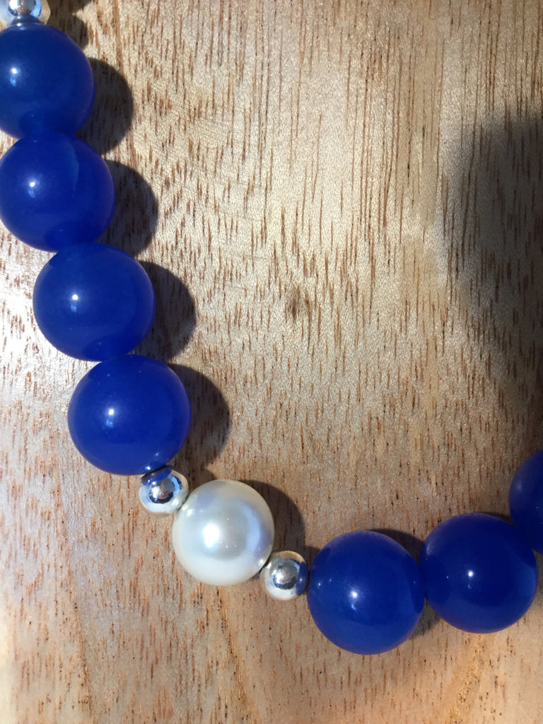 15mm blue Sapphire and pearls