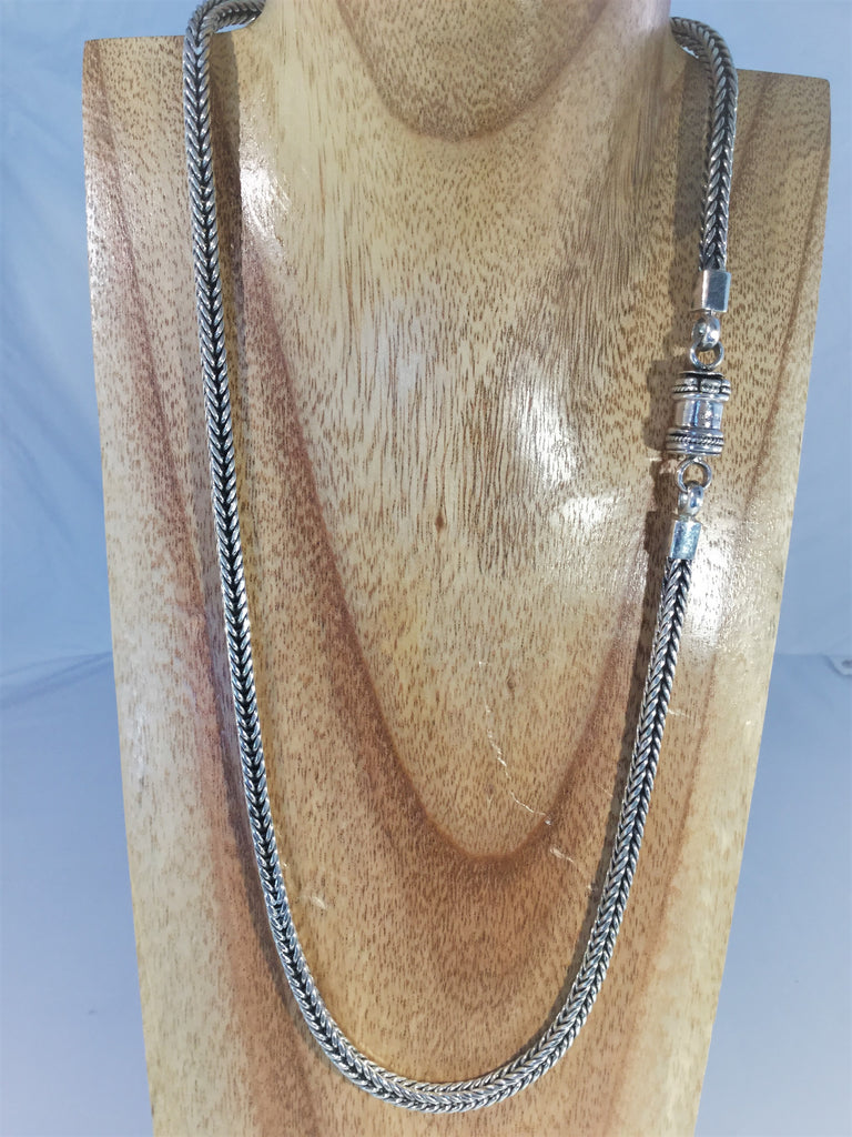 "SC12"" Sold Sterling Braid Necklace."