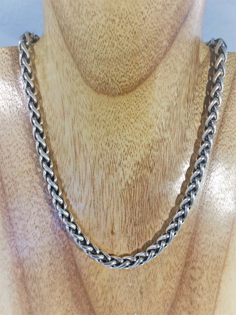 SC8: Wheat rope Sterling Necklace
