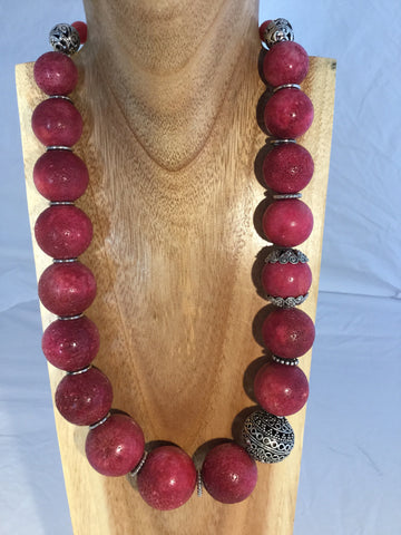 Libby - Red Turquoise and Howlite statement necklace.
