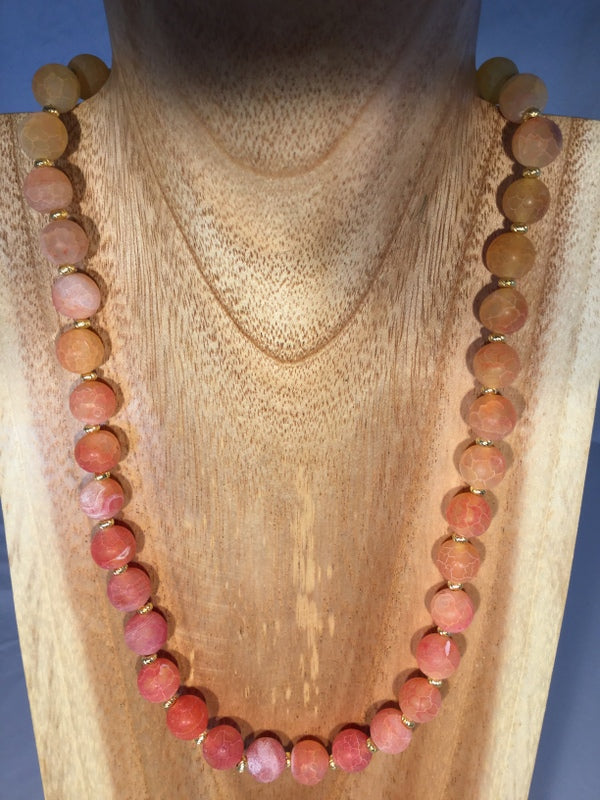 SUNSET: Peach/Gold Agate Choker
