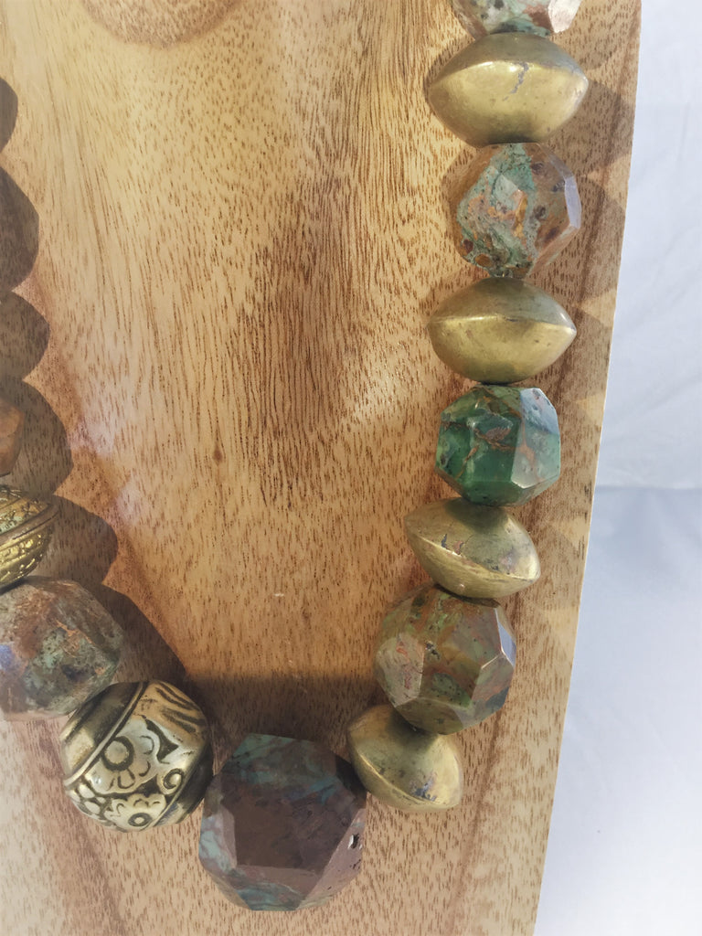 TRUSCAN: XL faceted chunky Chrysocolla Necklace
