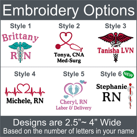Personalized nurse jacket embroidery options