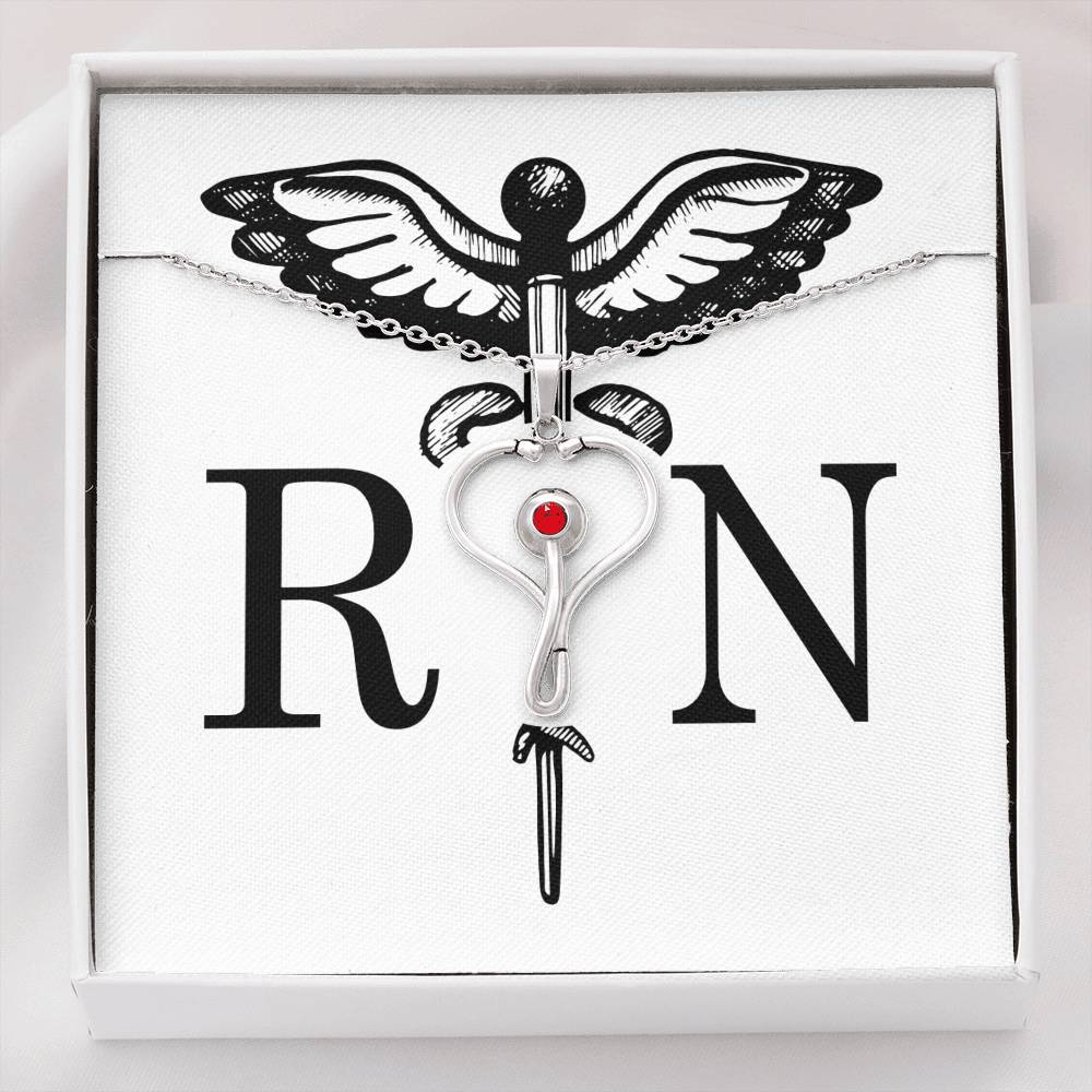 RN Stethoscope Heart Necklace