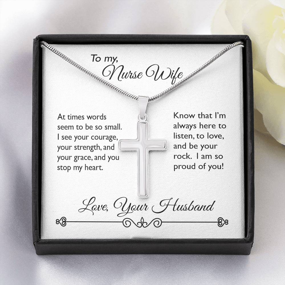 You Stop My Heart ~ Cross Necklace To my Wife
