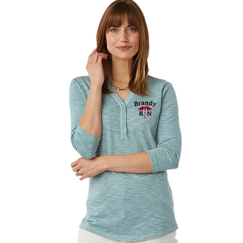 2143 | Women's Freetown Henley Personalized Nurse Tunic