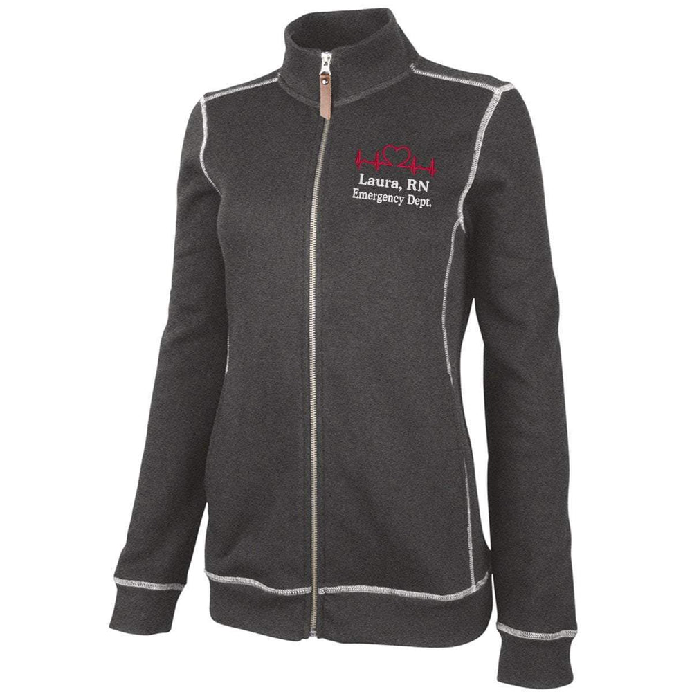 Charles River Apparel jacket Charcoal Heather / XS 5998 | WOMEN'S CONWAY FLATBACK RIB JACKET