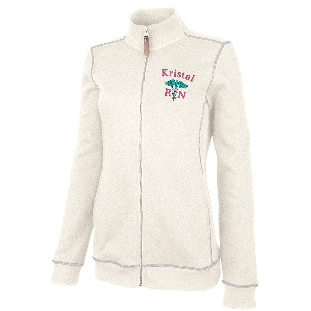 Charles River Apparel jacket Ivory Heather / XS 5998 | WOMEN'S CONWAY FLATBACK RIB JACKET
