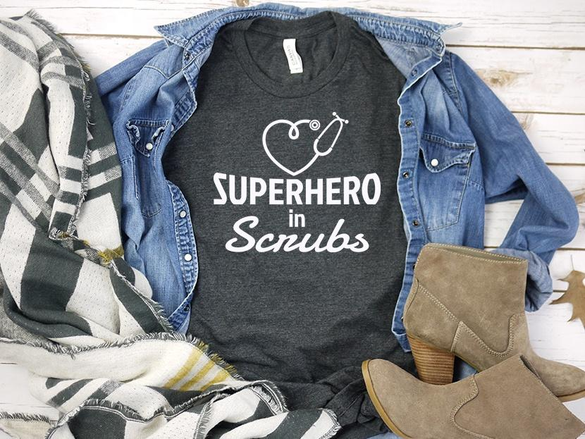Super Hero in Scrubs Nurse Tee Shirt | Adult Bella Canvas