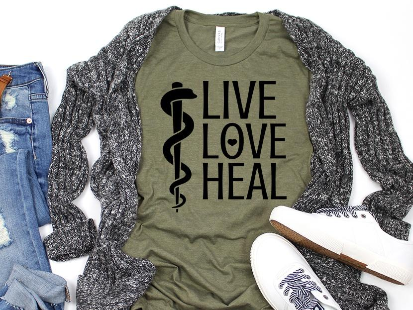 Live Love Heal Nurse tee | Adult Bella Canvas