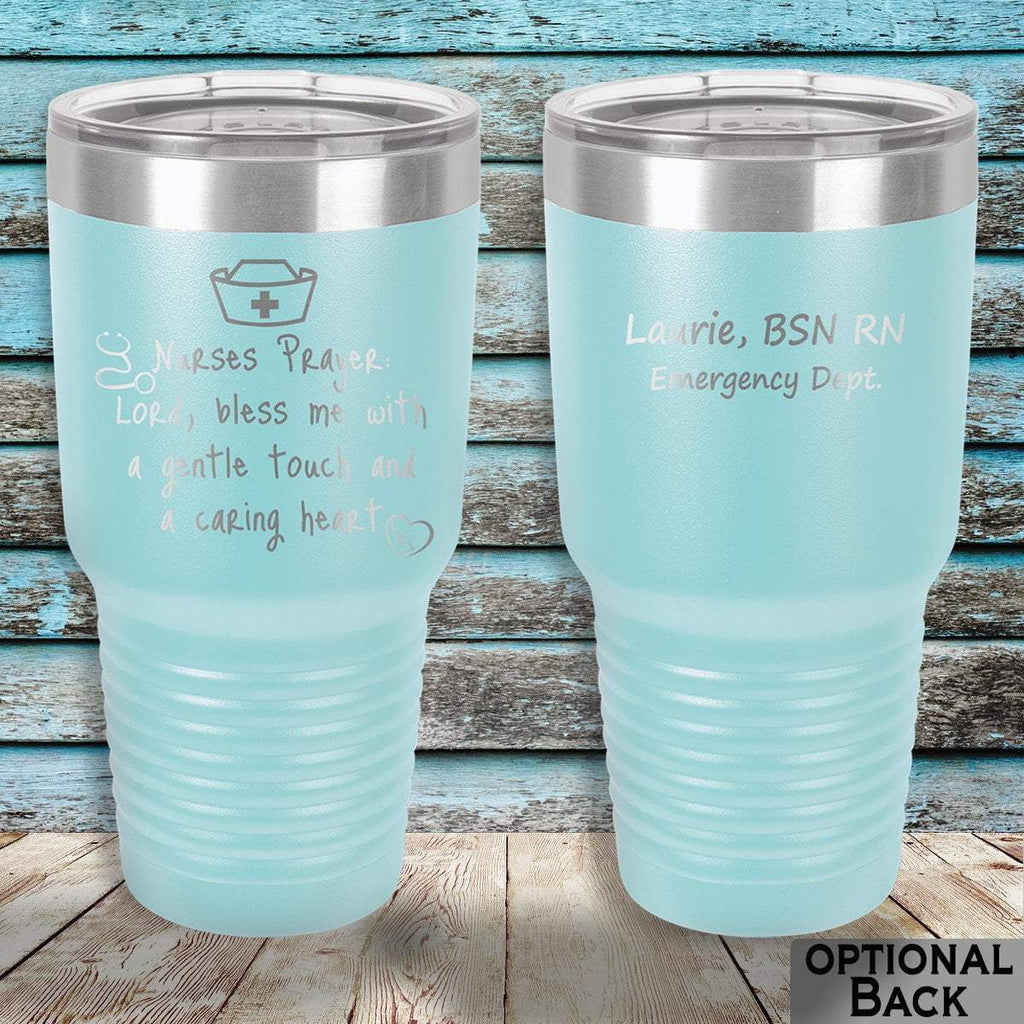 MacAttackGear Drinkware 30 ounce Tumbler / Light Blue Nurse Prayer Insulated Tumbler
