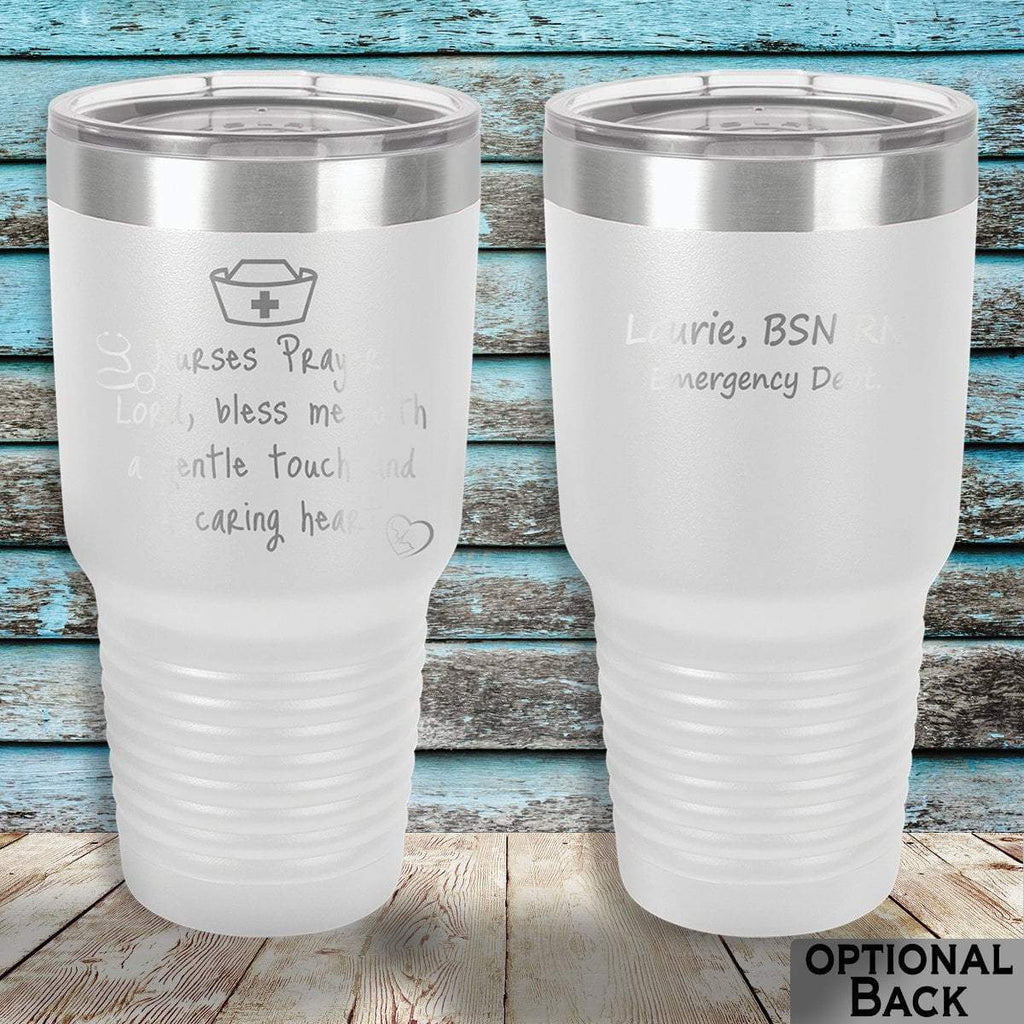 MacAttackGear Drinkware 30 ounce Tumbler / White Nurse Prayer Insulated Tumbler