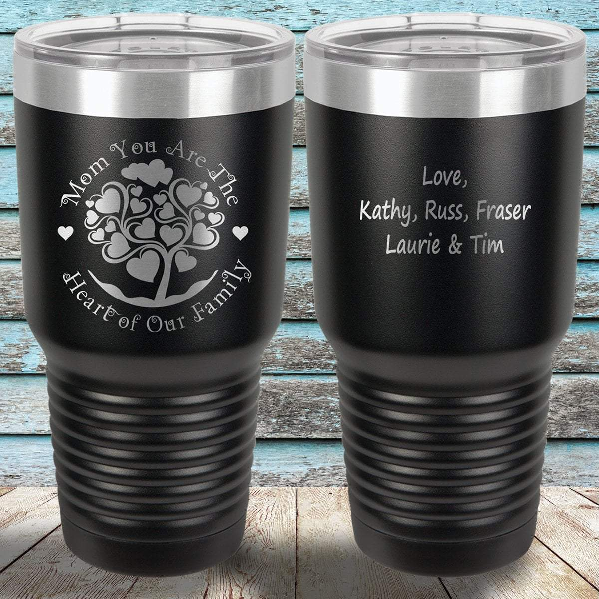 b5a7ecf4926 MacAttackGear Drinkware Black Mom You are the Heart of Our Family | Engraved  Tumbler