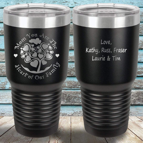 MacAttackGear Drinkware Black Mom You are the Heart of Our Family  |  Engraved Tumbler