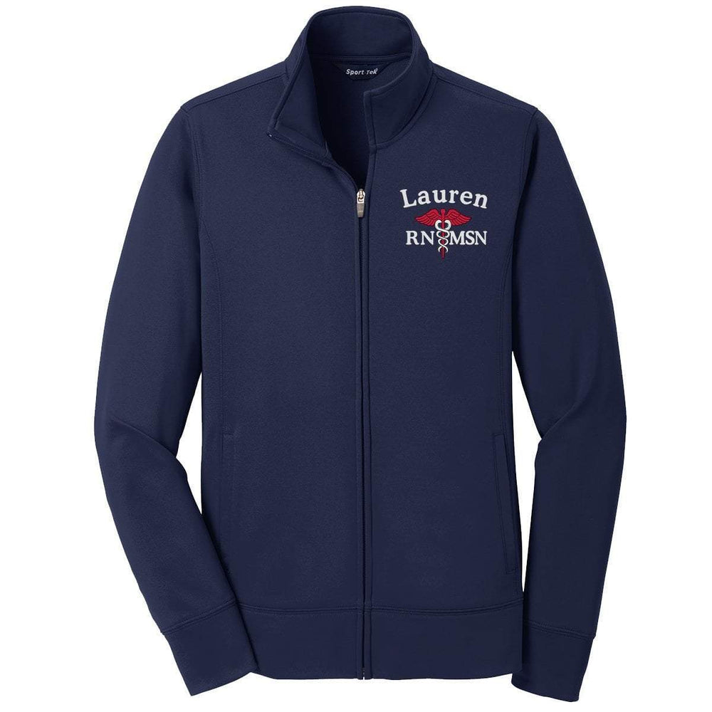Sport-Tek jacket Navy / XS LST241 | Customized Ladies Sport-Wick® Fleece Full-Zip Jacket