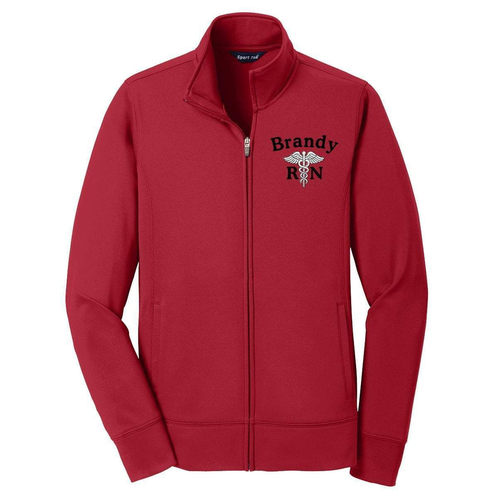 Sport-Tek jacket Red / XS LST241 | Customized Ladies Sport-Wick® Fleece Full-Zip Jacket