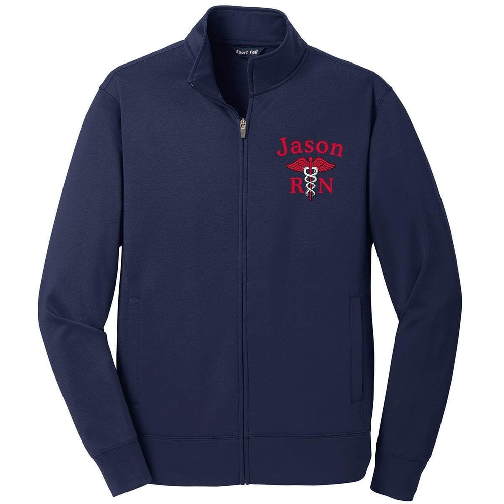 Sport-Tek jackets Navy / Small ST241 | Customized Unisex Sport-Wick® Fleece Full-Zip Jacket