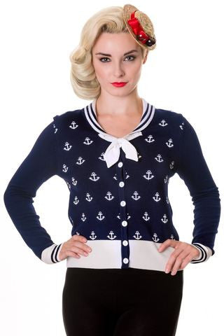 Banned Apparel Anchors Navy Cardigan - Bad Betty Couture Australia Online Shopping store Pinup girl Rockabilly Retro