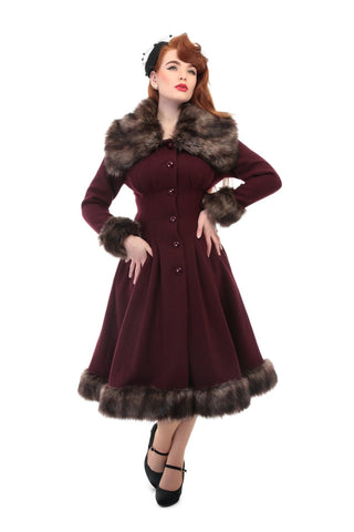 Collectif Vintage Pearl Coat in Red Wine - Bad Betty Couture Australia Online Shopping store Pinup girl Rockabilly Retro