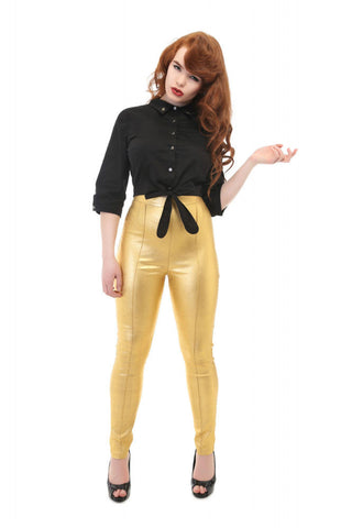 Collectif Mainline Hayworth Lamé Trousers Pants size 10 - - Bad Betty Couture Online shopping Australia Store Rockabilly Pinup Girl couture Clothing