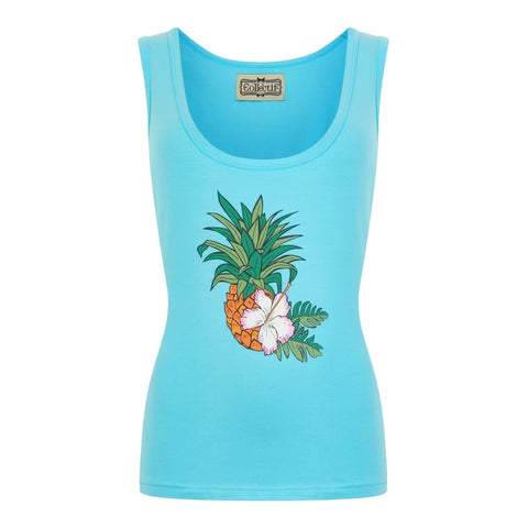 Collectif Mainline Pineapple Hibiscus Vest singlet top - Bad Betty Couture Australia Online Shopping store Pinup girl Rockabilly Retro