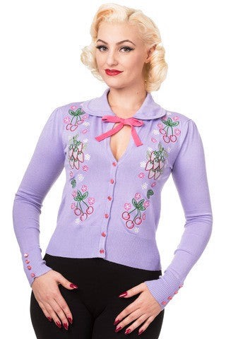 Banned Apparel Blue Dawn Lilac Cardigan - Bad Betty Couture Australia Online Shopping store Pinup girl Rockabilly Retro