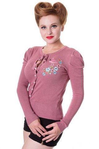Banned Apparel Flamingo Pink Cardigan - Bad Betty Couture Australia Online Shopping store Pinup girl Rockabilly Retro