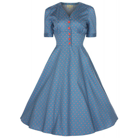 Lindy Bop Ionia Sea Blue Swing Dress - Bad Betty Couture Australia Online Shopping store Pinup girl Rockabilly Retro