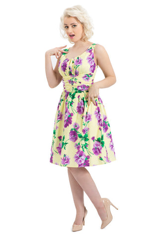 Voodoo Vixen Yellow Spring Flowers Finley Dress - BadBettyCouture - 1
