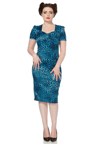 Voodoo Vixen Blue Leopard Sweetheart Sheath Dress - Bad Betty Couture Australia Online Shopping store Pinup girl Rockabilly Retro