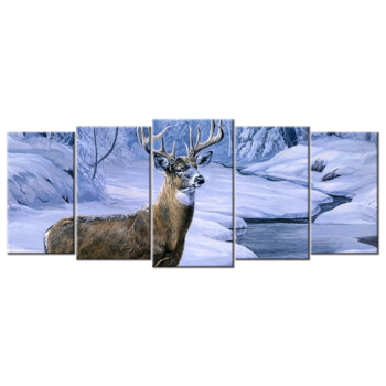 """Deer In Winter"", Five(5) Panel Canvas Wall Art"