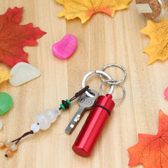 Keychain With Waterproof Aluminium Drug Container/Medicine Bottle/Pill Box