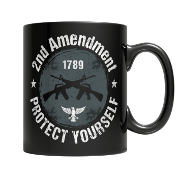 """2nd Amendment: Protect Yourself"", 11 Oz, Black Coffee Mug"
