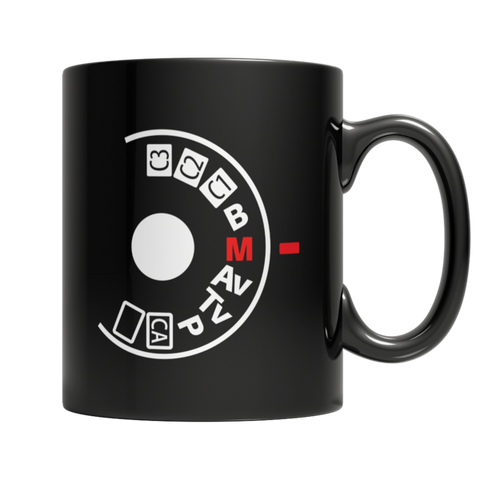 """Manual Camera Settings"" 11 Oz Black Coffee Mug"